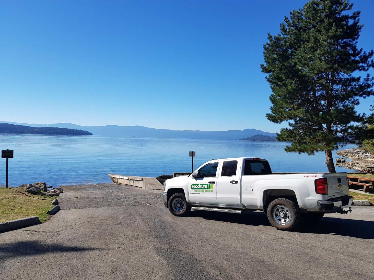truck by the lake